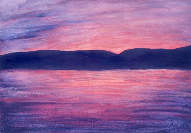 coastal sunset in neocolor ii watermarked